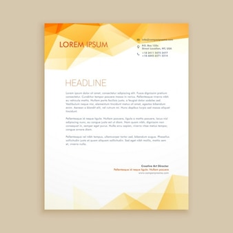 Orange low poly letterhead