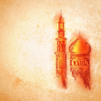Orange Mosque for Islamic Festivals concept.