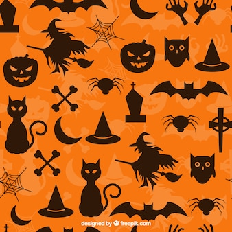 Orange pattern with halloween silhouettes
