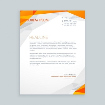 Orange polygonal business letterhead