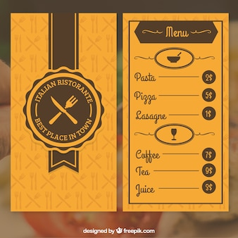 Orange restaurant menu