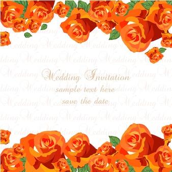 オレンジのバラの結婚式の招待状