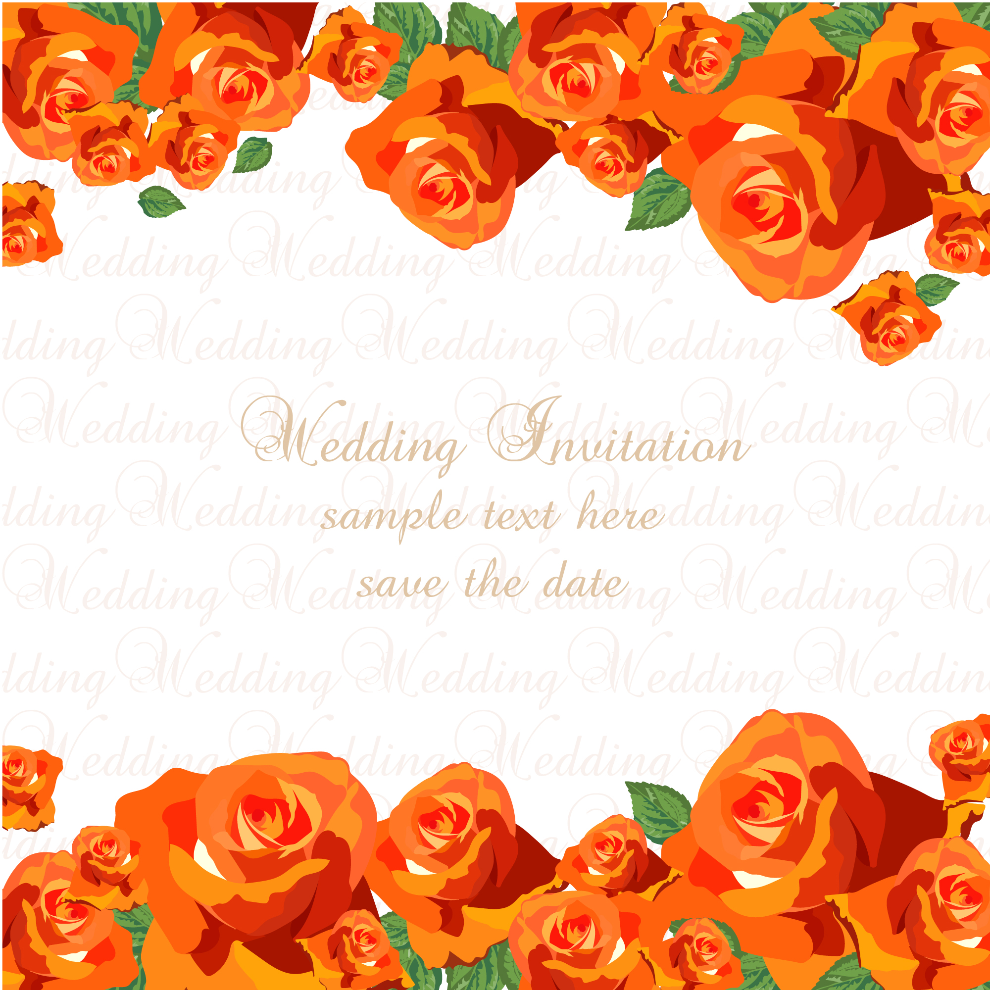 Orange roses wedding invitati