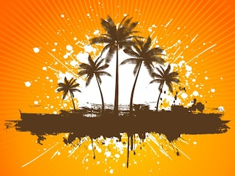 Orange Tropical Beach Background
