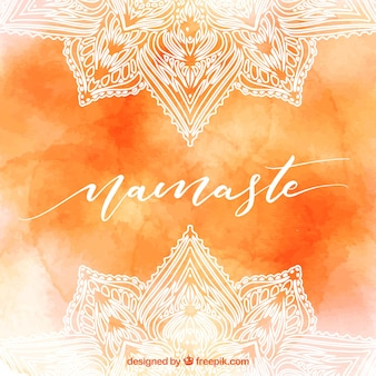 Orange watercolor background of namaste