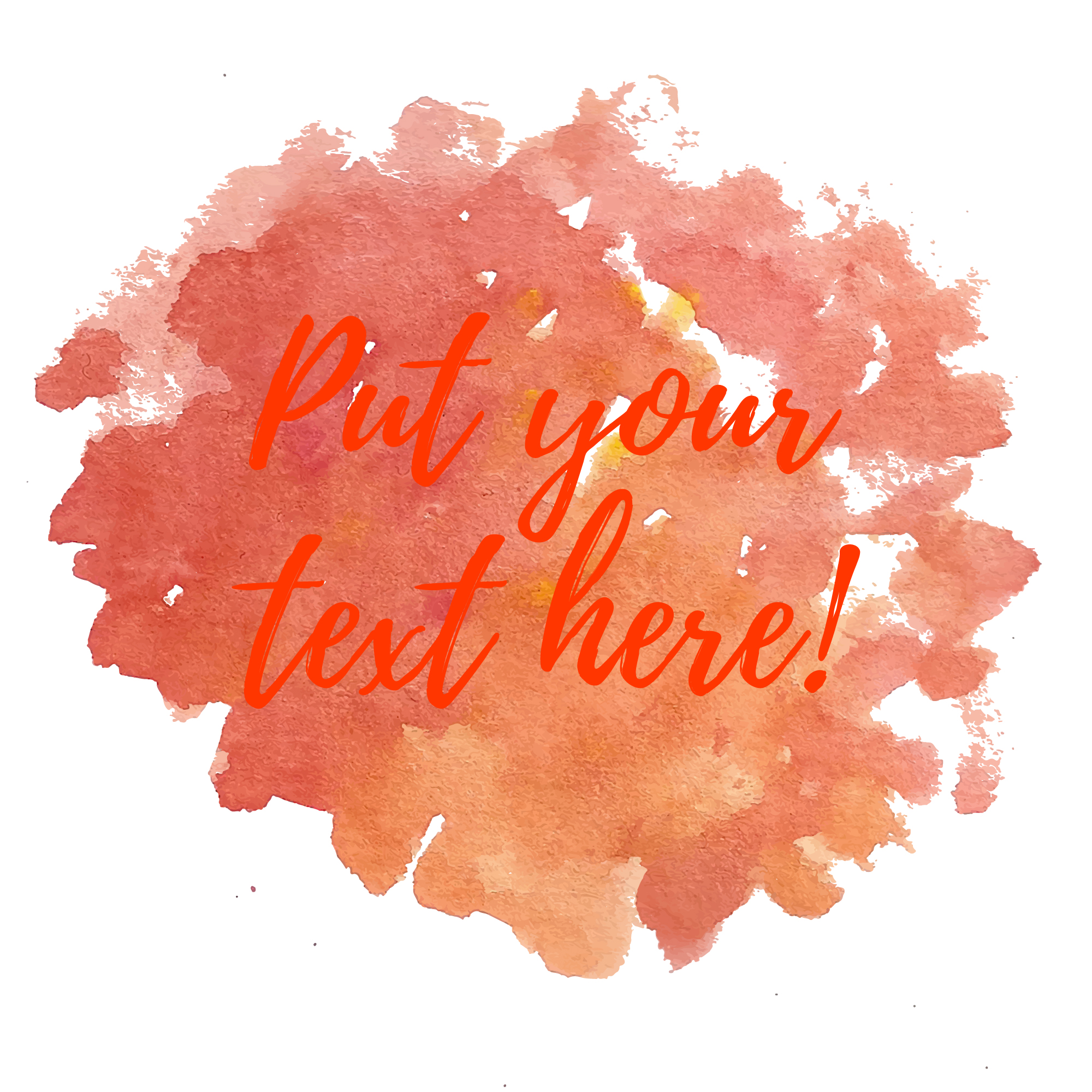Orange watercolor background with text template