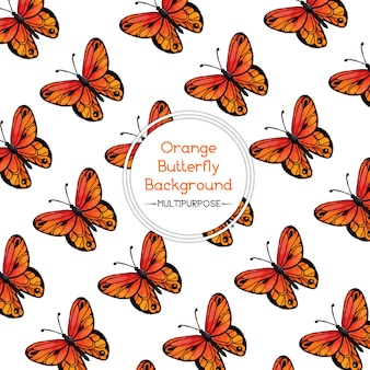 Orange Watercolor Butterfly Background