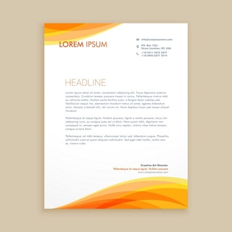 Orange wave creative letterhead