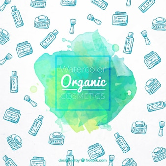 Organic cosmetics hand drawn around a watercolor stain