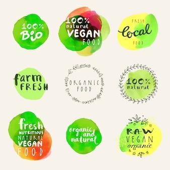 Organic food logo collection