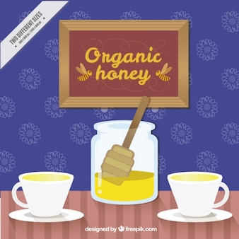 Organic honey background with cups