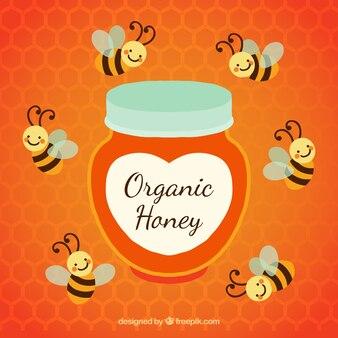 Organic honey pot with bees around