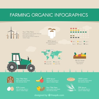 Organic infography with tractor