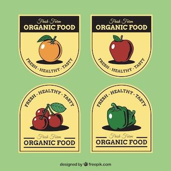 Organic vintage stickers set