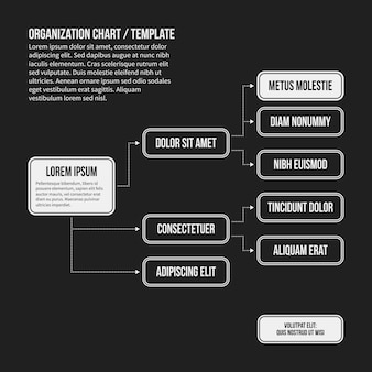 Organization chart template with geometric elements on black background. Useful for science and business presentations.