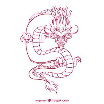 Oriental dragon drawing