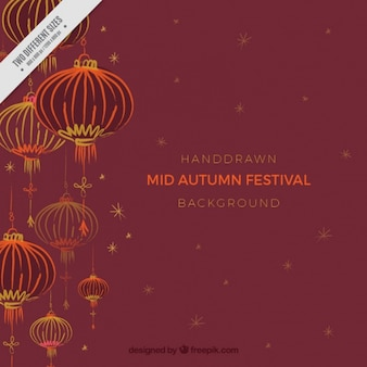 Oriental lanterns mid autumn festival background