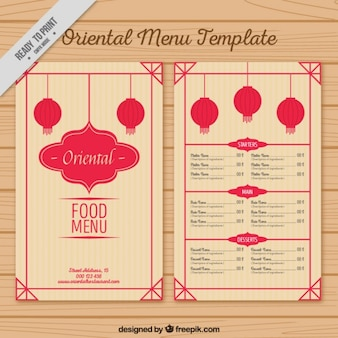 Oriental menu template with lanterns