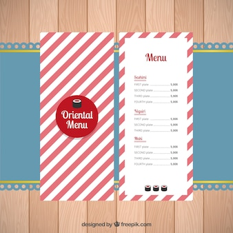 Oriental menu with red and white stripes