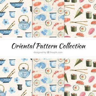 Oriental watercolor patterns