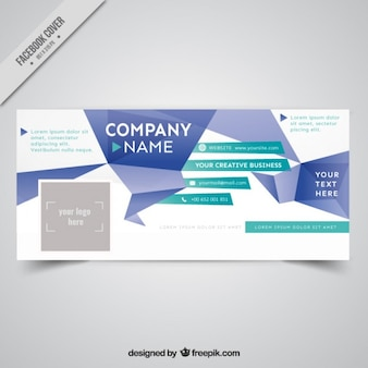 Origami abstract business cover for social media