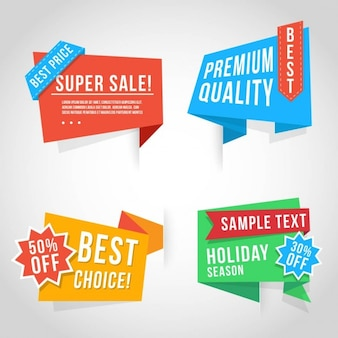 Origami banners for discounts