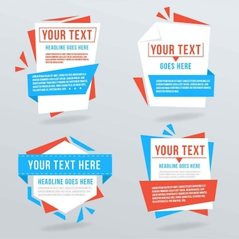 Origami banners with text templates