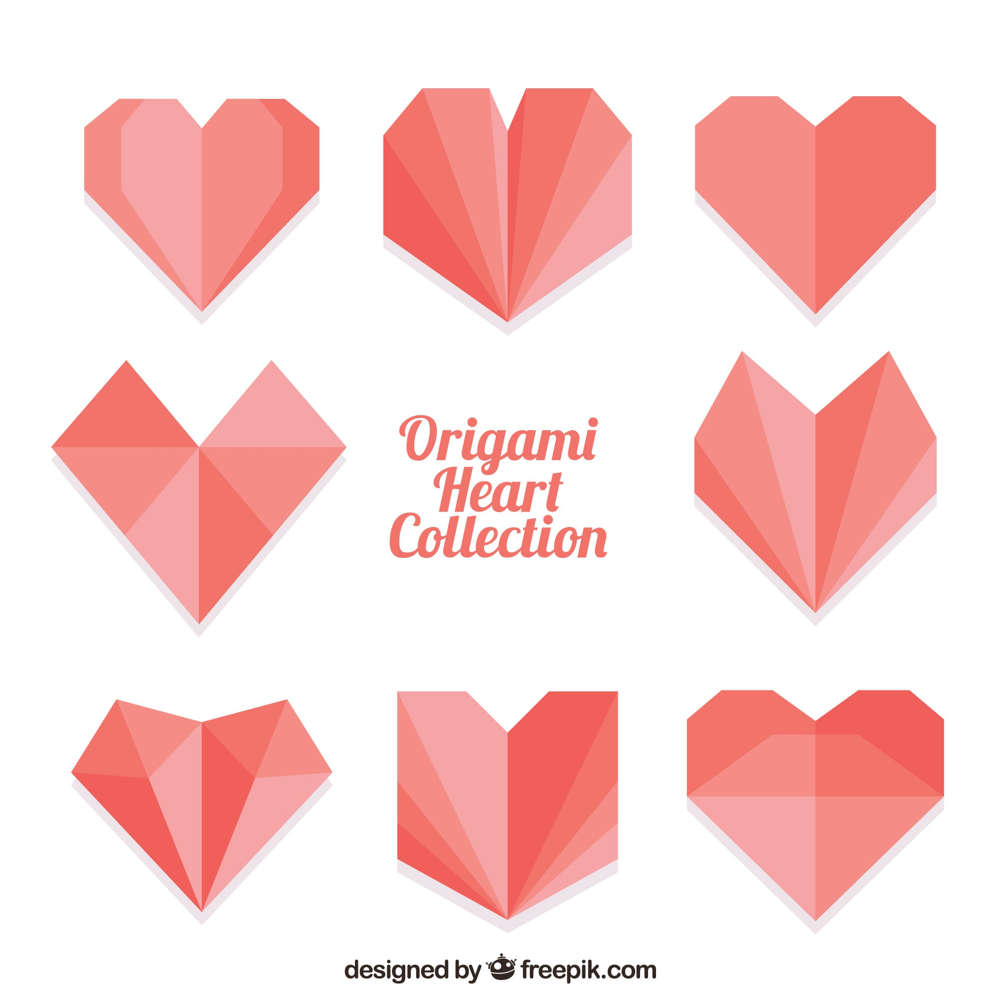 Origami collection with hearts in flat design