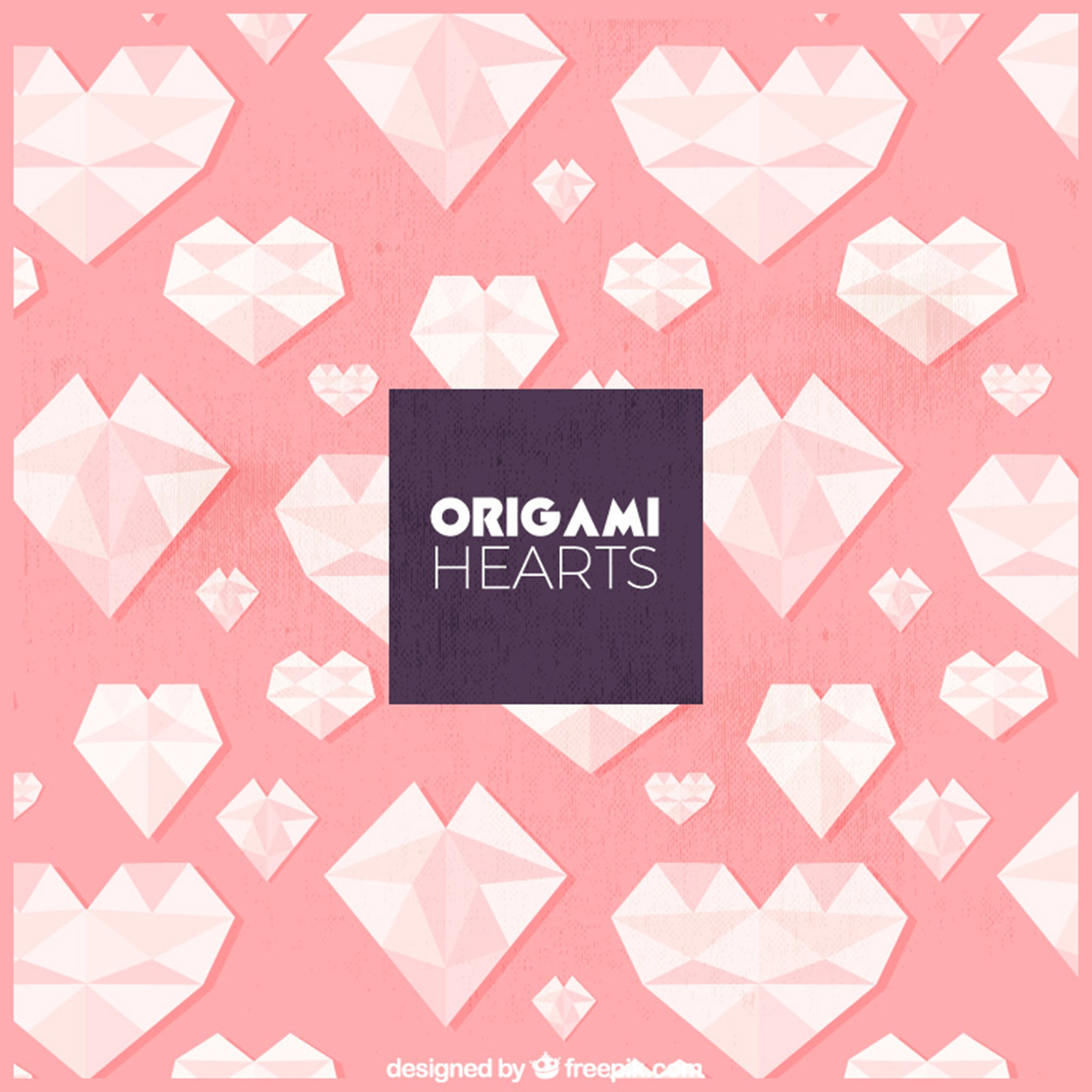 Origami hearts background