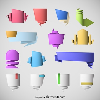 Origami labels collection vector