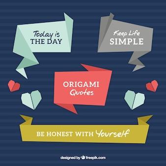 Origami quotes set