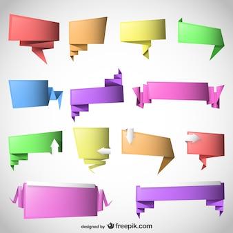 Origami speech bubbles set