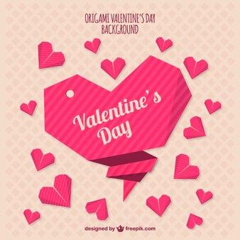 Origami valentines day background