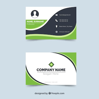 Original busines card with flat design