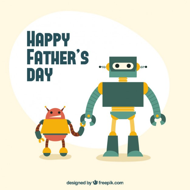 Original father's day card with robots
