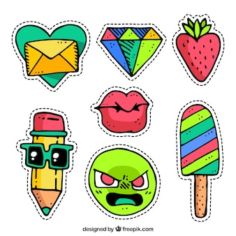 Original stickers with hand drawn style