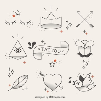 Original tattoos elements in linear style