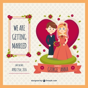 Original wedding invitation with bride and groom
