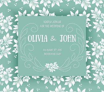 Ornament floral marriage date template