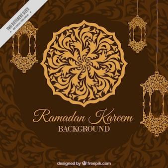 Ornamental and elegant ramadan brown background