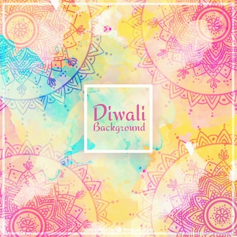 Ornamental background of watercolor diwali