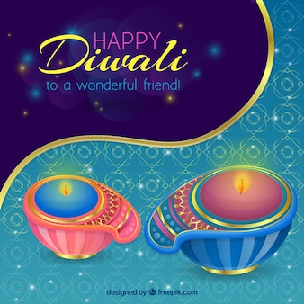 Ornamental background with decorative diwali candles