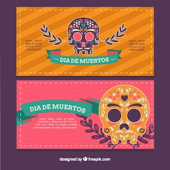 Ornamental banners of mexican skulls
