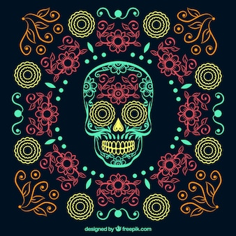 Ornamental beautiful hand drawn day of the dead background