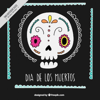 Ornamental black background of hand drawn mexican skull