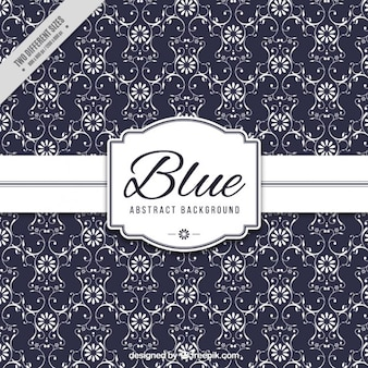 Ornamental blue background with flowers