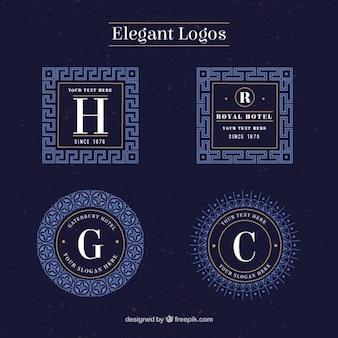 Ornamental blue elegant logos