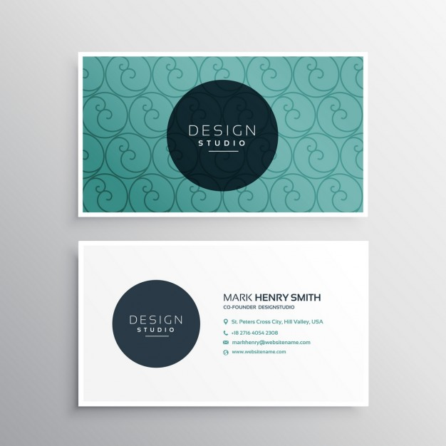 Ornamental business card with abstract shapes