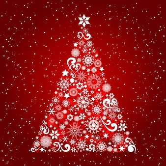 Ornamental christmas tree on red background