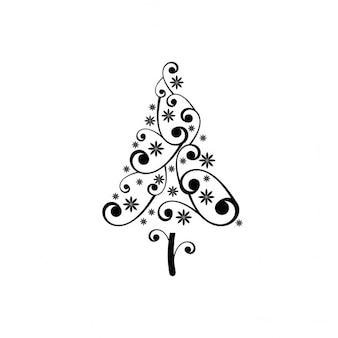 Ornamental christmas tree with swirls